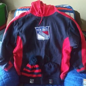 NEW YORK RANGERS REEBOK SEWN HOODIE & 2 KNIT HATS